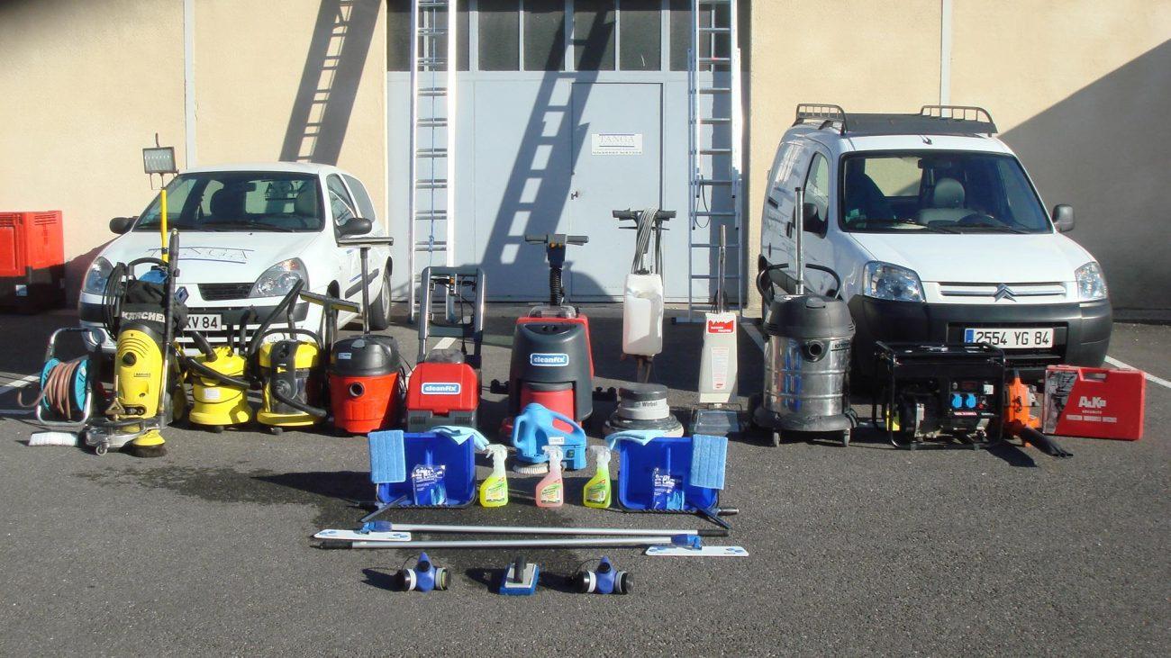 Les équipements d'une société de nettoyage
